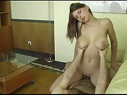 Big hooter homemade penetrating in doggy and cowgirl on the couch, then taking jizz in her jaws